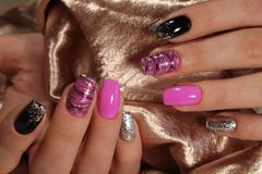 Fashion nails design manicure. Best of 2017 Royalty Free Stock Images