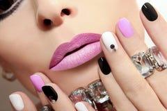 Fashion nails with rhinestones. Royalty Free Stock Image
