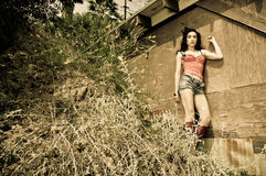 Fashion Nature. Young model wearing a corset modeling in the nature Royalty Free Stock Image
