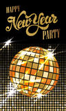 Fashion New Year party poster with gold sparkles. Disco ball wit. H flares. Vector illustration royalty free illustration