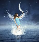 Fashion night fairy. Creative fashion with fairy touching the moon Stock Images