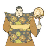 Fashion oriental fat man Royalty Free Stock Images