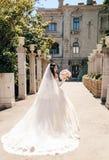 beautiful bride with dark hair in luxurious wedding dress in elegant villa stock photography