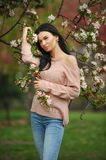 Fashion outdoor photo of beautiful charming woman. Royalty Free Stock Photography