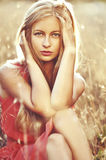 Fashion outdoor photo of beautiful sensual woman with blonde hair Stock Photos