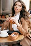 Beautiful woman with dark hair in elegant outfit sitting in cafe royalty free stock photo