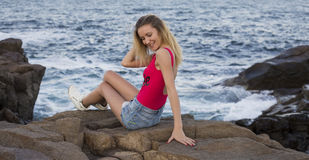 Fashion outdoor photo of gorgeous woman with blond hair in elegant bikini Royalty Free Stock Photography