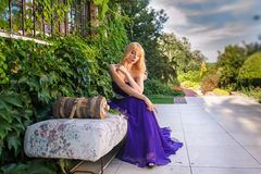 Fashion outdoor photo of gorgeous woman royalty free stock images