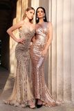 Beautiful young women with dark hair in luxurious evening dresses. Fashion outdoor photo of two beautiful girls with dark hair in luxurious evening dresses stock photo