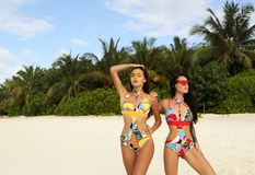 Sexy women with dark hair in elegant bikini relaxing on Maldives. Fashion outdoor photo of two beautiful sexy women with dark hair in elegant bikini relaxing on Stock Image