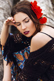 fashion outdoor portrait of a beautiful brunette woman Stock Image