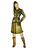 Fashion outfit illustration. Hand-drawn fashion illustration of a girl wearing a khaki green skirt suit and boots isolated on a white background Stock Photography