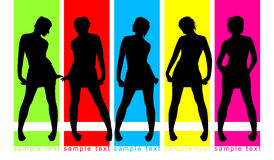 Fashion parade on color background. Five female silhouettes royalty free illustration