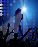 Fashion Party. Blue background with sexy girls shapes Royalty Free Stock Images