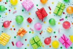 Fashion party background with colorful gift boxes. royalty free stock photos