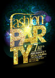 Fashion party vector poster with gold crystal headline Stock Image