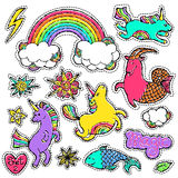 Fashion patch badge elements in cartoon 80s-90s comic style. Set modern trend doodle pop art sketch. Fashion patch badge elements in cartoon 80s-90s comic style Royalty Free Stock Photography