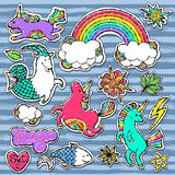 Fashion patch badge elements in cartoon 80s-90s comic style. Set modern trend doodle pop art sketch. Fashion patch badge elements in cartoon 80s-90s comic style Stock Images