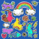 Fashion patch badge elements in cartoon 80s-90s comic style. vector illustration