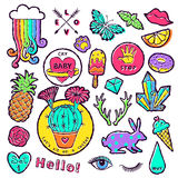 Fashion patch badge elements in cartoon 80s-90s comic style. Set modern trend doodle pop art sketch. stock illustration