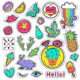 Fashion patch badge elements in cartoon 80s-90s comic style. Set modern trend doodle pop art sketch. Royalty Free Stock Images