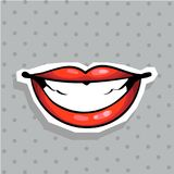 Fashion patch badge with lips whide smiling pop art style sticker with dot background stock illustration