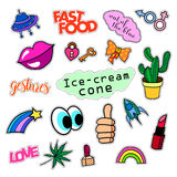 Fashion patch badges. Big set. Stickers, pins, embroidery, patches and handwritten notes collection in cartoon 80s-90s Royalty Free Stock Photography