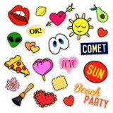 Fashion patch badges. Big set. Stickers, pins, embroidery, patches and handwritten notes collection in cartoon 80s-90s Royalty Free Stock Image
