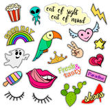 Fashion patch badges. Big set. Stickers, pins, embroidery, patches and handwritten notes collection in cartoon 80s-90s Royalty Free Stock Photos