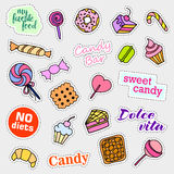 Fashion patch badges. Candy set. Stickers, pins, patches and handwritten notes collection in cartoon 80s-90s comic style Royalty Free Stock Image