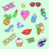 Fashion patch badges. Cartoon Patches collection Stickers, pins with lips, ice cream, kiss. Royalty Free Stock Photo