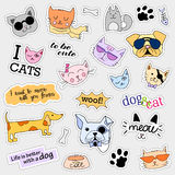 Fashion patch badges. Cat and dog set. Stickers, pins, patches handwritten notes collection in cartoon 80s-90s comic Stock Images