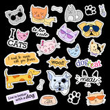 Fashion patch badges. Cats and dogs set. Stickers, pins, patches handwritten notes collection in cartoon 80s-90s comic Stock Photography