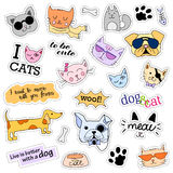 Fashion patch badges. Cats and dogs set. Stickers, pins, patches  handwritten notes collection in cartoon 80s-90s comic Stock Images