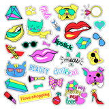 Fashion patch badges. Cats and dogs set. Stickers, pins, patches handwritten notes collection in cartoon 80s-90s comic Royalty Free Stock Photos