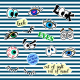 Fashion patch badges with different elements. Eyes. Set of stickers, pins, patches and handwritten notes collection  Royalty Free Stock Photography