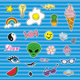 Fashion patch badges with different elements. Set of stickers, pins, patches and handwritten notes collection in cartoon Royalty Free Stock Photo