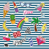 Fashion patch badges with different elements. Set of stickers, pins, patches and handwritten notes collection in cartoon Stock Images