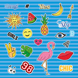 Fashion patch badges with different elements. Set of stickers, pins, patches and handwritten notes collection in cartoon Royalty Free Stock Images