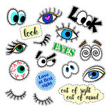 Fashion patch badges. Eyes set. Stickers, pins, patches and handwritten notes collection in cartoon 80s-90s comic style vector illustration