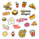 Fashion patch badges. Fast food set. Stickers, pins, patches and handwritten notes collection in cartoon 80s-90s comic Stock Images