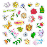 Fashion patch badges. Flowers set. Stickers, pins, patches and handwritten notes collection in cartoon 80s-90s comic Royalty Free Stock Photos