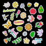 Fashion patch badges. Flowers set. Stickers, pins, patches and handwritten notes collection in cartoon 80s-90s comic Royalty Free Stock Photography