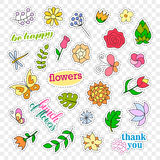 Fashion patch badges. Flowers set. Stickers, pins, patches and handwritten notes collection in cartoon 80s-90s comic Stock Photography