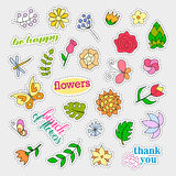Fashion patch badges. Flowers set. Stickers, pins, patches and handwritten notes collection in cartoon 80s-90s comic Royalty Free Stock Images