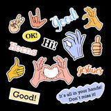 Fashion patch badges. Hands set. Stickers, pins, patches and handwritten notes collection in cartoon 80s-90s comic style Stock Images
