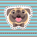 Fashion patch badges happy pug in bow tie on striped background. stock illustration