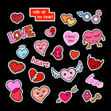 Fashion patch badges. Hearts set. Stickers, pins, patches and handwritten notes collection in cartoon 80s-90s comic Stock Photos