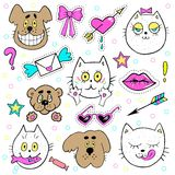 Fashion patch badges with kitten, puppy, teddy bear, lips, envelope and other elements. Vector illustration isolated on Royalty Free Stock Photography
