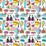 Fashion patch badges. With lips, hearts, speech bubbles,mermaid, unicorn, shoe, palette, brush, girl, bunny. Vector colorful pattern . Set of stickers, pins stock illustration